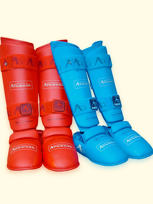 WKF Approved Arawaza shin & foot protectors - red and blue set
