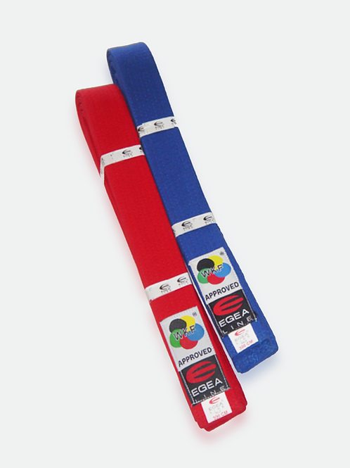 WKF Approved Egea Line competition belts – Red and Blue Set
