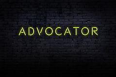 Neon sign with inscription advocator aga