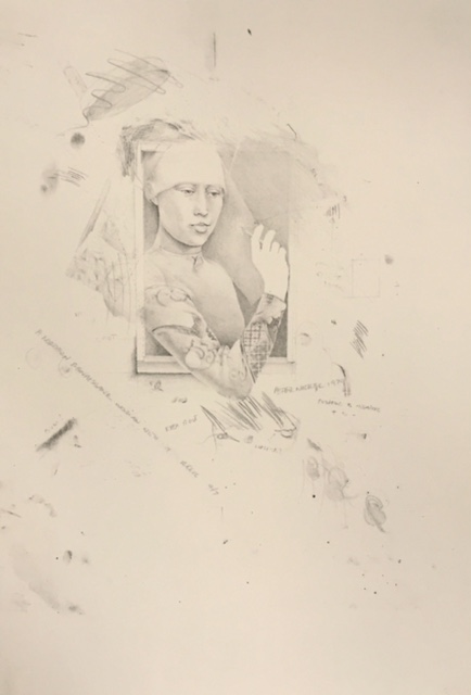 Northern Renaissance Woman w Pencil