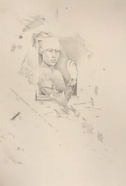 Northern Renaissance Woman w Pencil