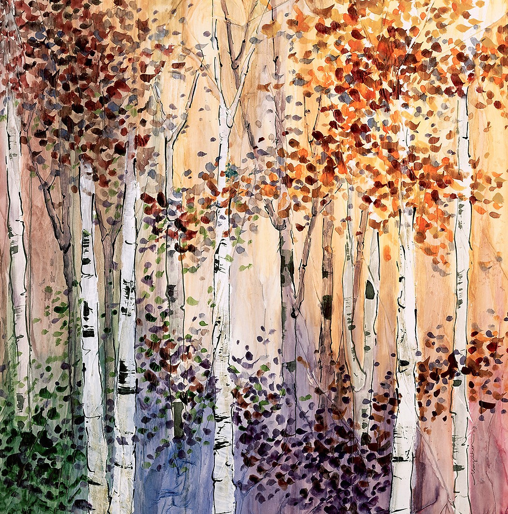 Autumn fall giclee print of birch landscape by artist Kate Moynihan