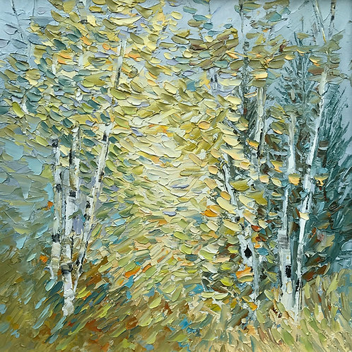 """Tree Tunnel - framed 14 x 14"""""""
