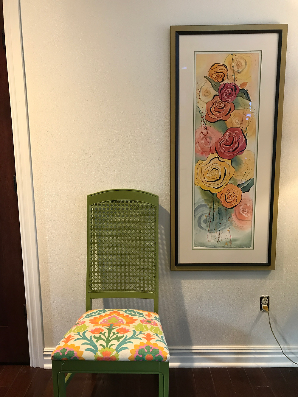 """Importance of texture in your home and art. Original watercolor by Kate Moynihan artist, """"Grandam's Roses"""""""