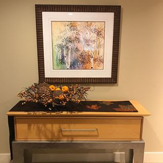 """Artist Kate Moynihan, framed watercolor """"Fall"""" Giclee print, part of 4 - season collection"""