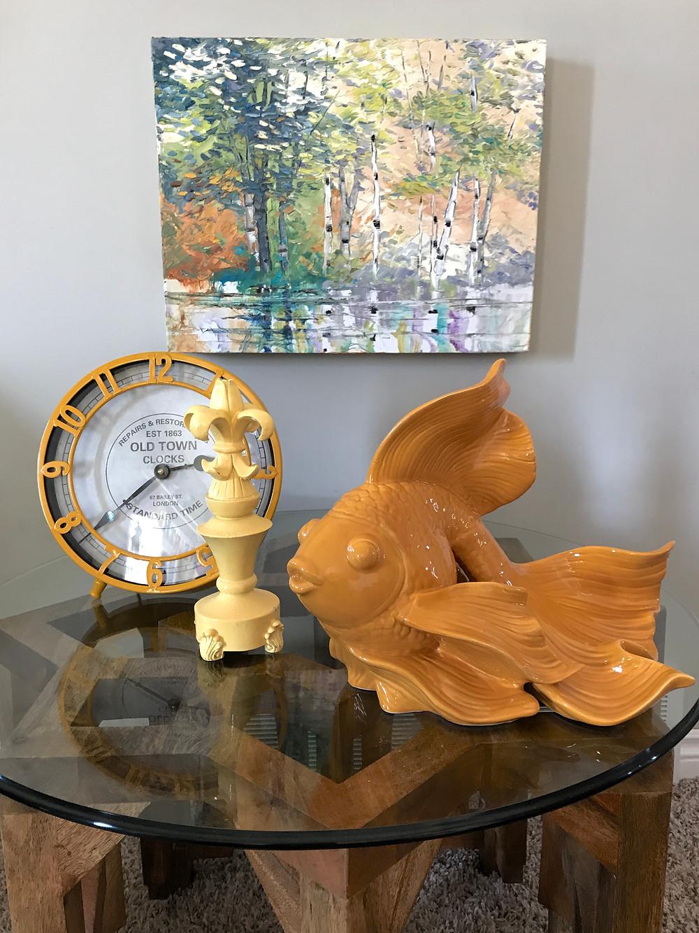 Yellow, orange living room, home of Lindsay Moynihan, original birch by Kate Moynihan