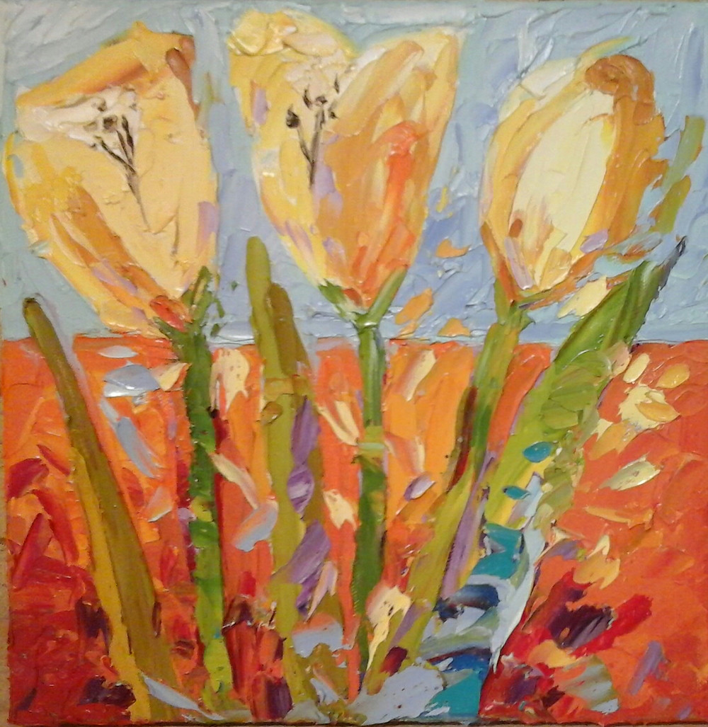 Original Oil by Kate Moynihan Yellow tulips with 2/3 rd orange background