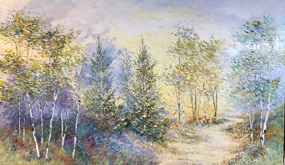 Extra large Original oil landscape painting in cool blues by Kate Moynihan artist