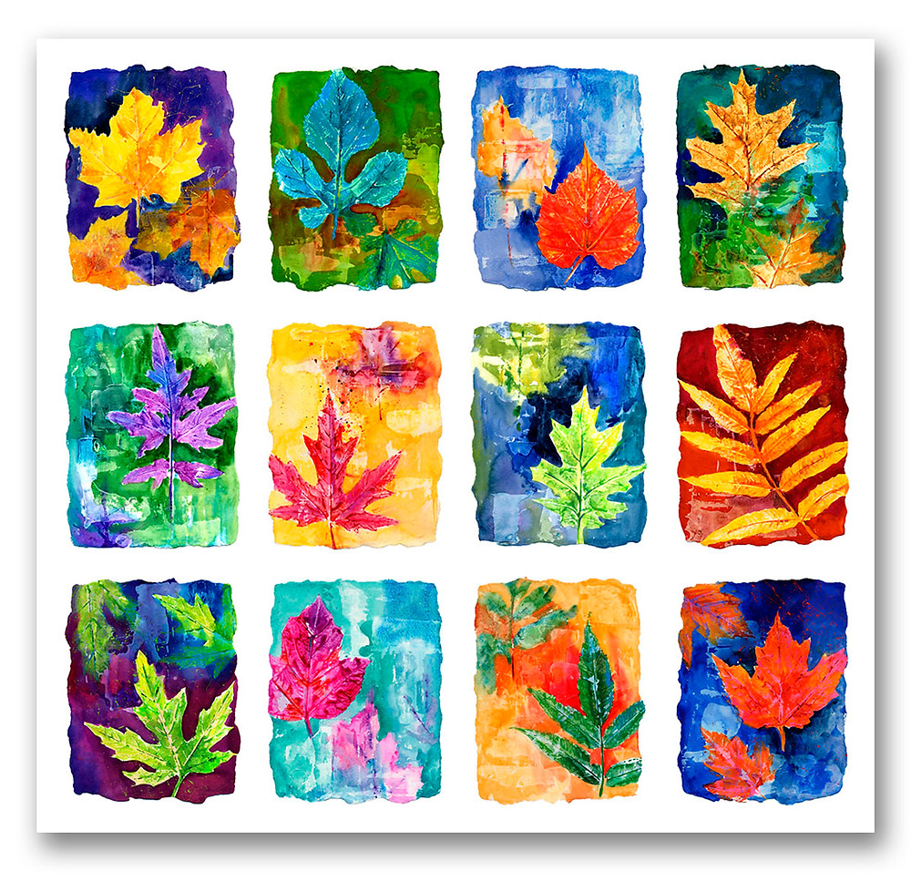 12 contemporary colorful leaves in watercolor Giclee print by Kate Moynihan artist