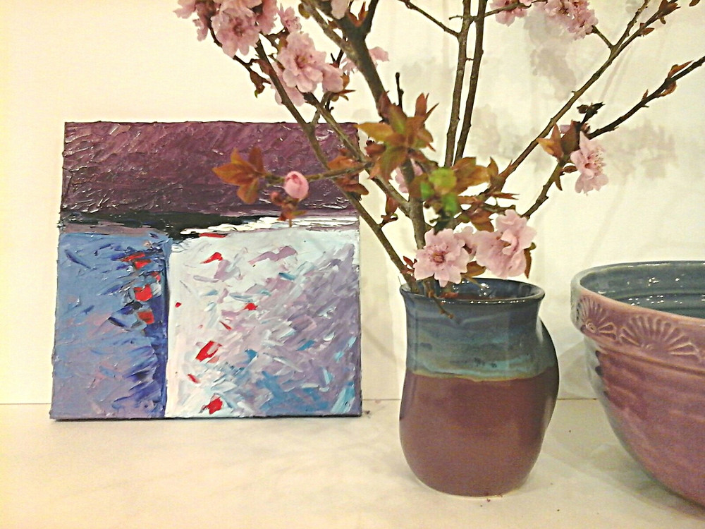 """Abstract contemporary violet original oil 10 x 10"""" by Kate Moynihan Artist"""