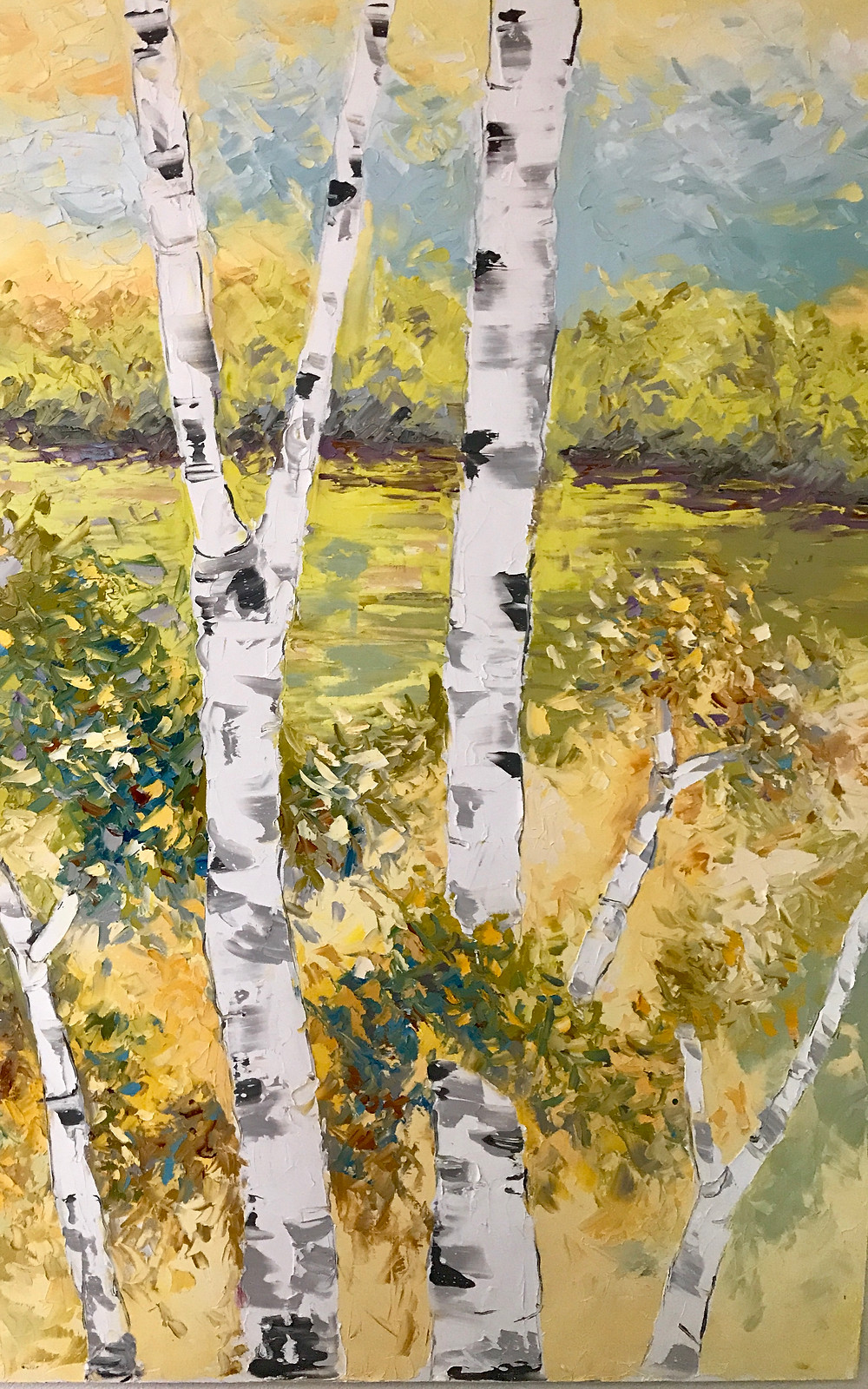 Original oil birch landscape vertical in yellows and greens by Kate Moynihan