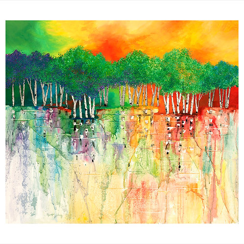 Contemporary green birch trees with colorful water reflection Giclee print by Kate Moynihan