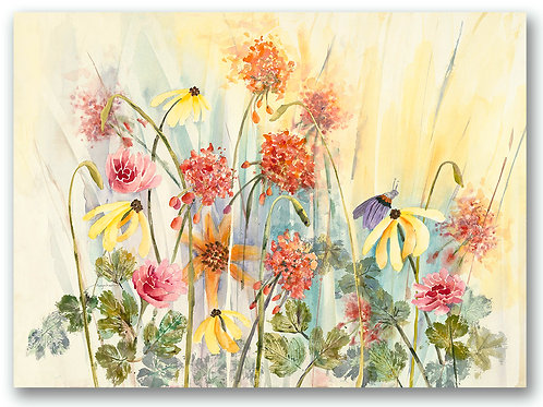 Giclee limited edition print  with butterfly, red geraniums, yellow daisies, by Kate Moynihan artist.