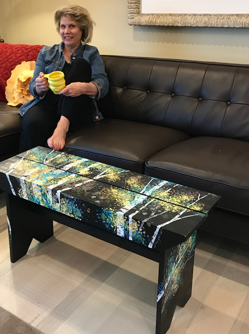 Hand-painted birch coffee table or bench by artist Kate Moynihan
