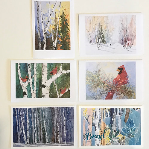 6-pack winter note cards