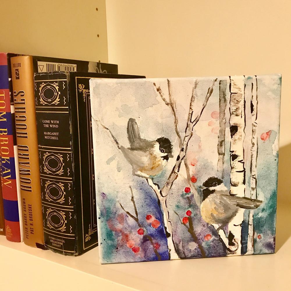 winter birch original acrylic with pair of chickadees by Kate Moynihan artist