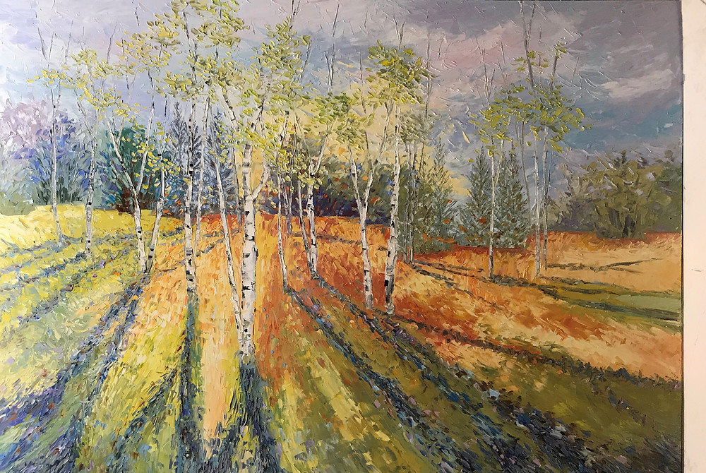 birch landscape shadows through trees original oil by Kate Moynihan artist