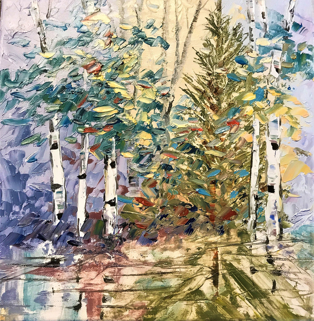 small original birch and pine with water reflection oil painting by Kate Moynihan artist