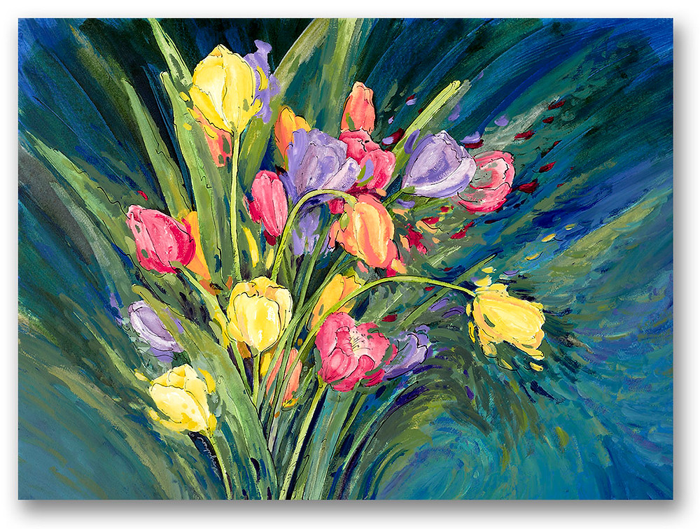 Contemporary bouquet of tulips in bright bold blues, yellow, reds. Giclee print by Kate Moynihan