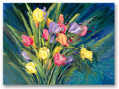 Colorful tulips with a bold blue background dance across the paper of this Giclee print by Kate Moynihan