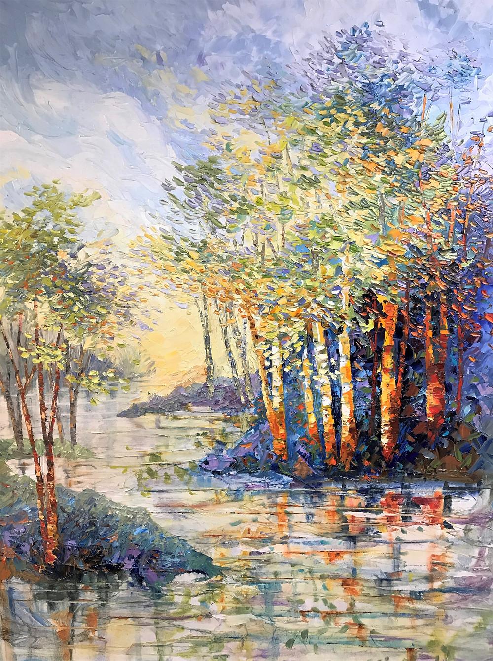 birch aspen landscape water reflection landscape original oil by Kate Moynihan