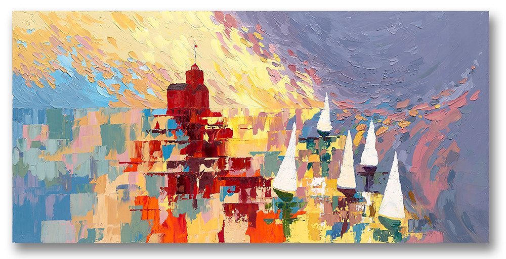 Contemporary colorful giclee print of Holland, MI Big Red lighthouse with sailboats by Kate Moynihan artist