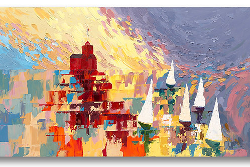 Lighthouse in Holland, MI, Big Red painted in contemporary style. Giclee print by Kate Moynihan artist.