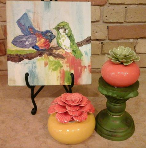Small whimsical contemporary birds original oil by Kate Moynihan