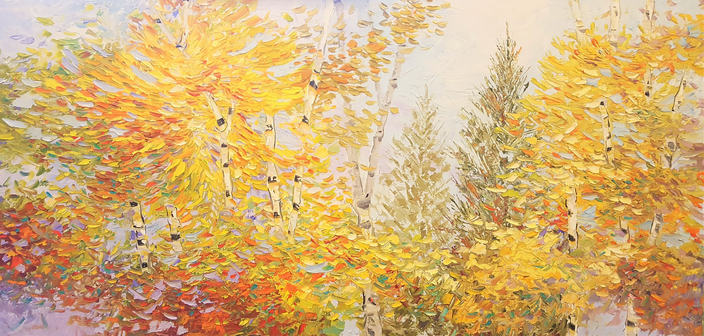 Autumn burst of colorful leaves original oil painting by Kate Moynihan artist