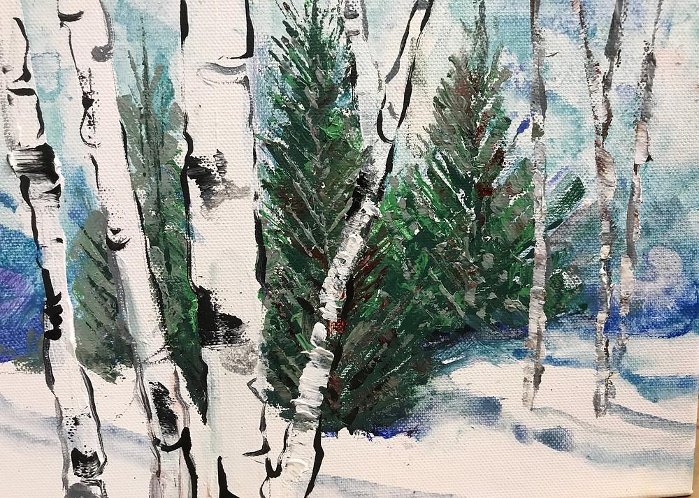 Small original birch winter landscape by Kate Moynihan