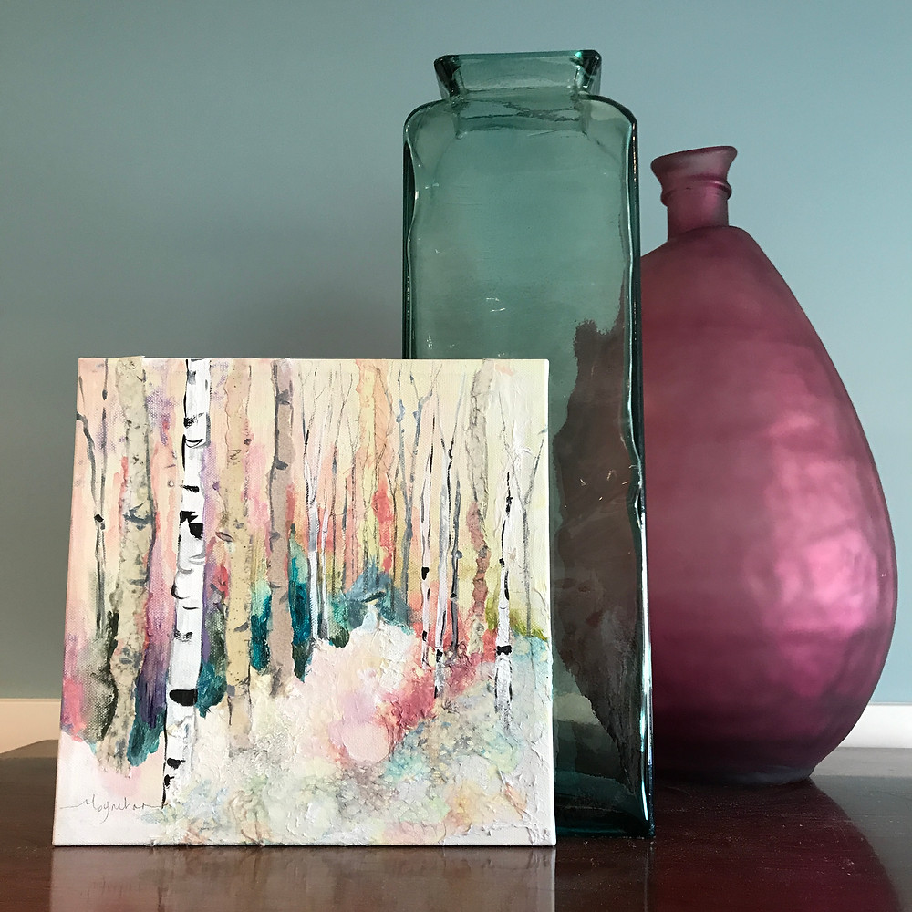 Original acrylic by Kate Moynihan Artist. Pantone Living coral with blue home decor accent