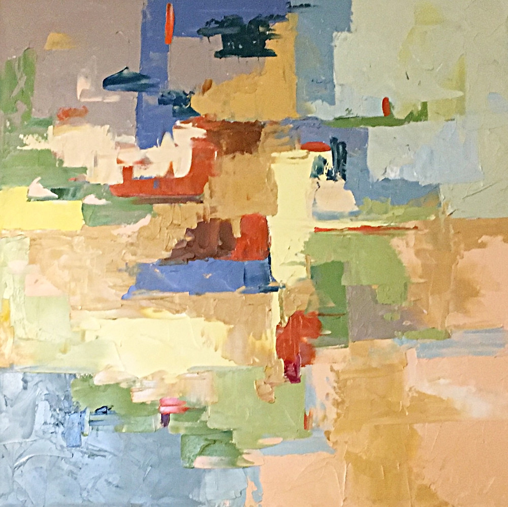 Original geometric abstract contemporary oil by Kate Moynihan