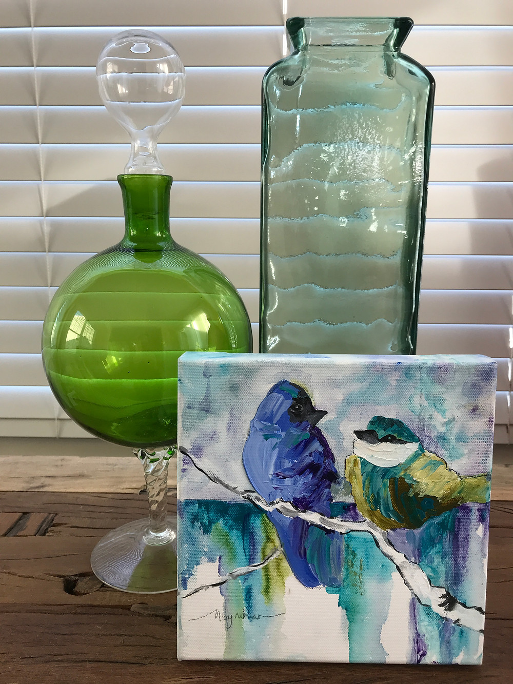 Analogous colors in home decor with original bird oil painting by Kate