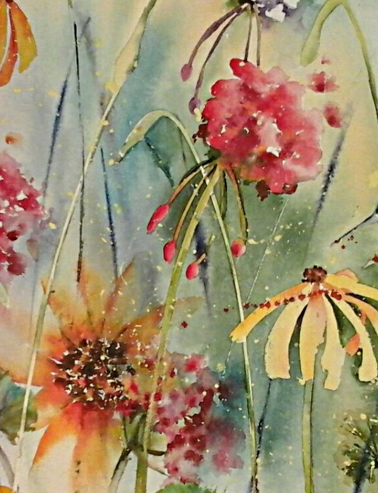Summer Butterfly Giclee print by Kate Moynihan artist with sunflower, daisy, geraniums