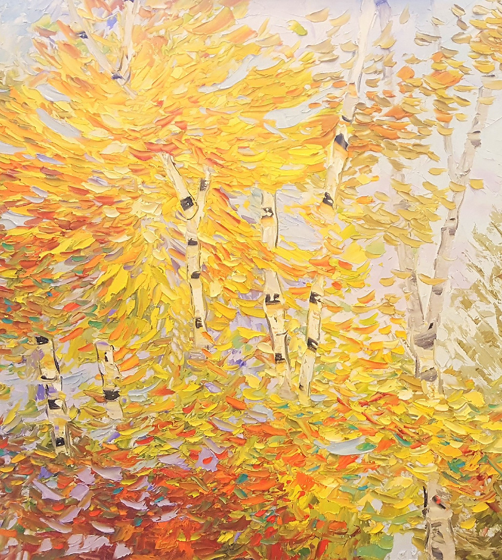 Palette knife technique in original oil painting of yellow birch tree leaves and landscape by Kate Kate Moynihan artist.