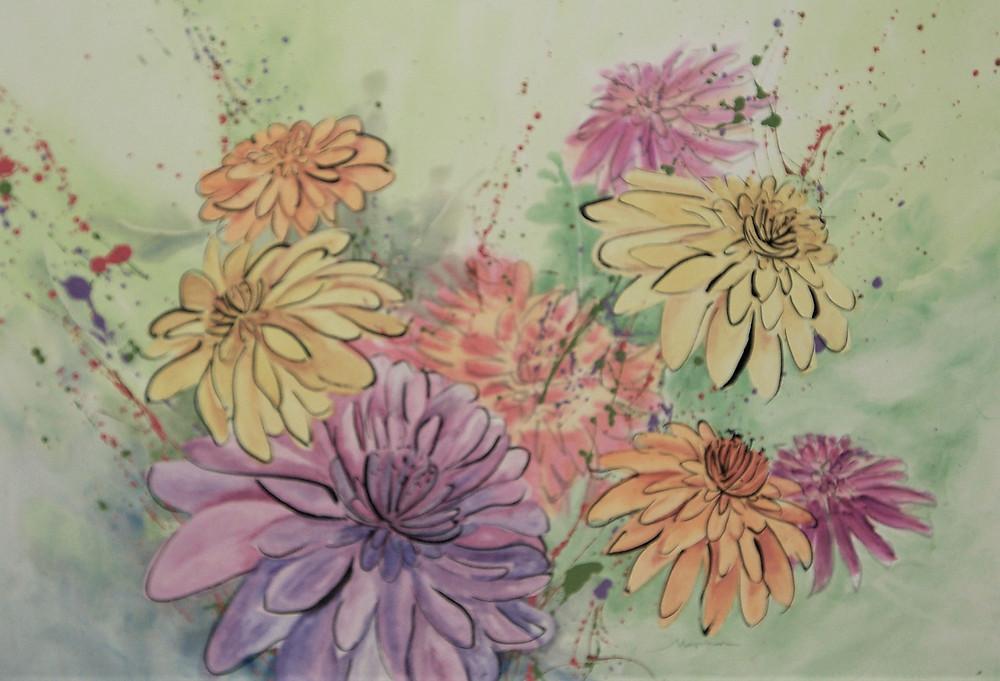 Original watercolor by Kate Moynihan artist of colorful summer  daisies