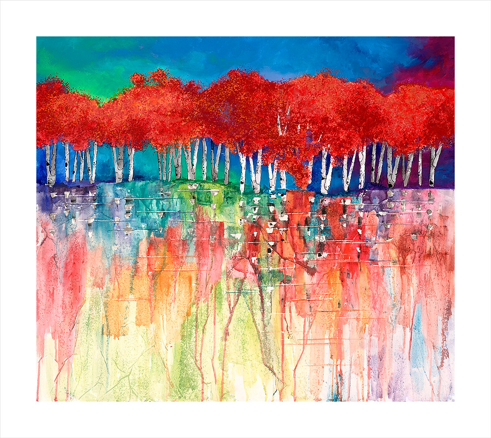"""""""Scarlet Trees"""" Giclee print by Kate Moynihan artist of contemporary red trees against vivid blue sky"""