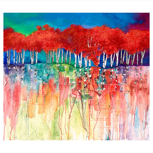 Contemporary red trees, bright blue and green background with colorful water reflection, Giclee print by Kate Moynihan