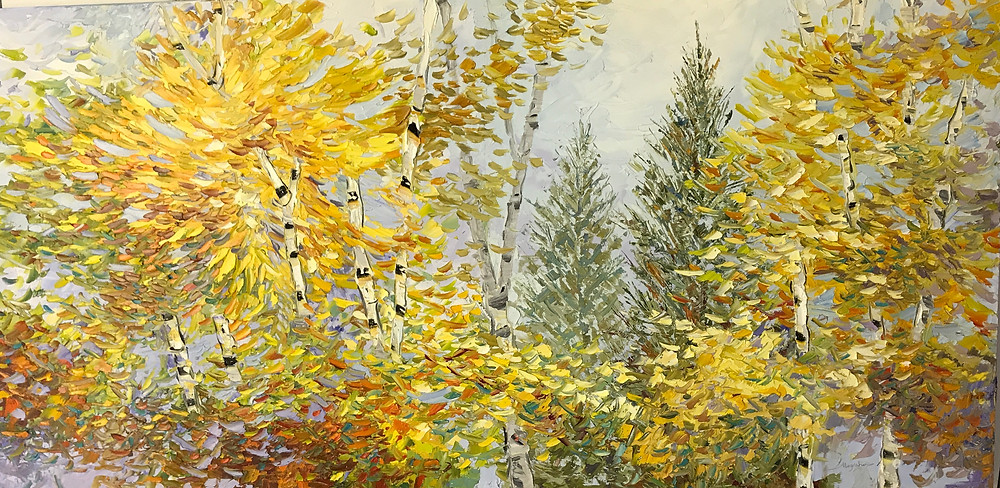 Large original oil in yellows and greens of birch tree landscape by Kate Moynihan artist