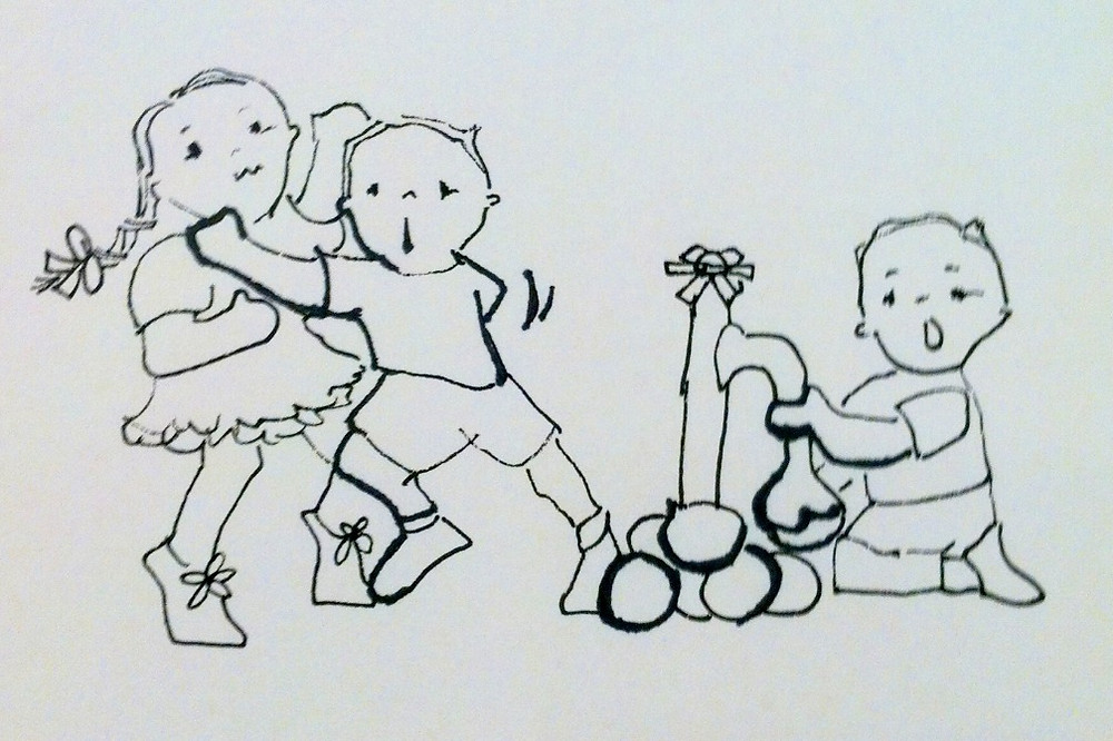 Drawing from Beached in a Camper, a chapter book by Kate Moynihan illustration features two brothers filling water balloon bombs.