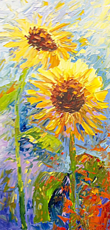 Original vertical sunflower oil painting by Kate Moynihan aritst