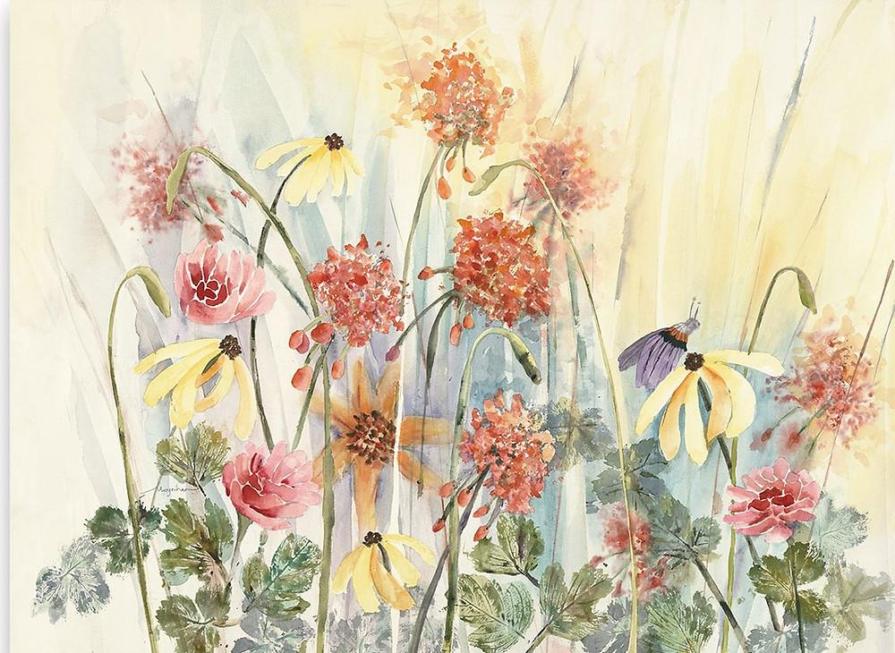 Summer flower garden of geraniums , daisies, and butterfly Giclee print by Kate Moynihan artist.