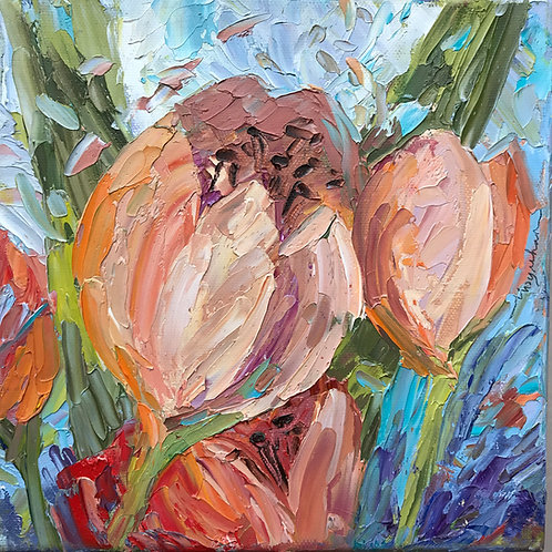 """'Spring Tulip in Fruity Colors' - 8 x 8"""""""