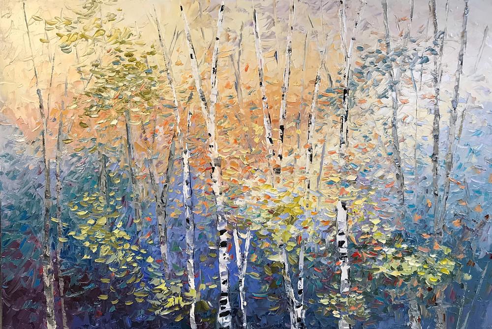 Birch tree landscape warm and blue cool colors original oil palette knife by Kate Moynihan artist
