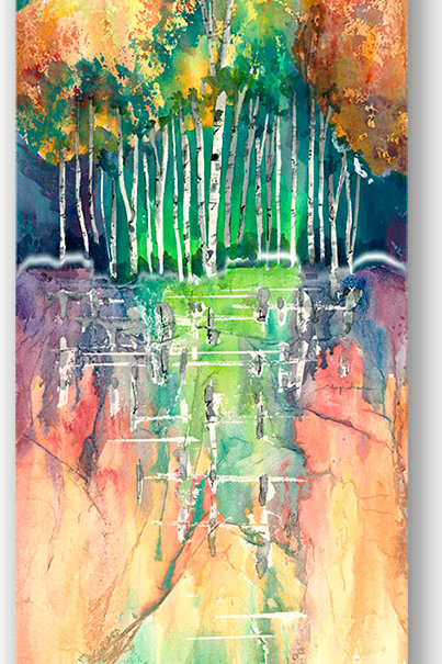 Long narrow vertical Giclee print of contemporary birch trees with water reflection by Kate Moynihan