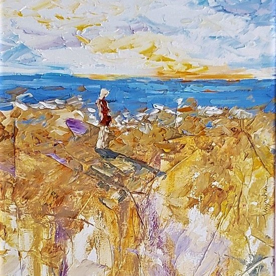 Solo figure on beach, escaping into the tranquilty of the water, original oil by Kate Moynihan artist