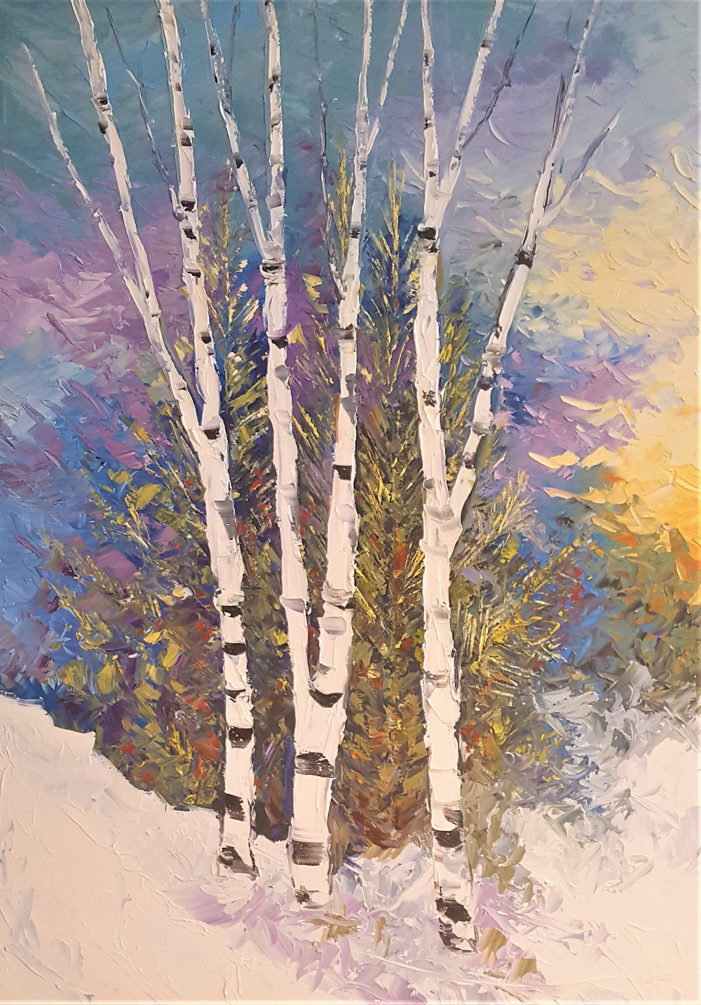 """Dramatic Home Decor with Verticals. Original Oil painting by Kate Moynihan, """"Standing Tall"""""""