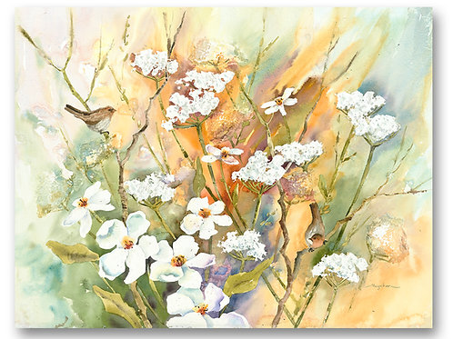 White daisy flowers with wren birds perched in soft pastels and neutrals. Giclee print by Kate Moynihan artist.