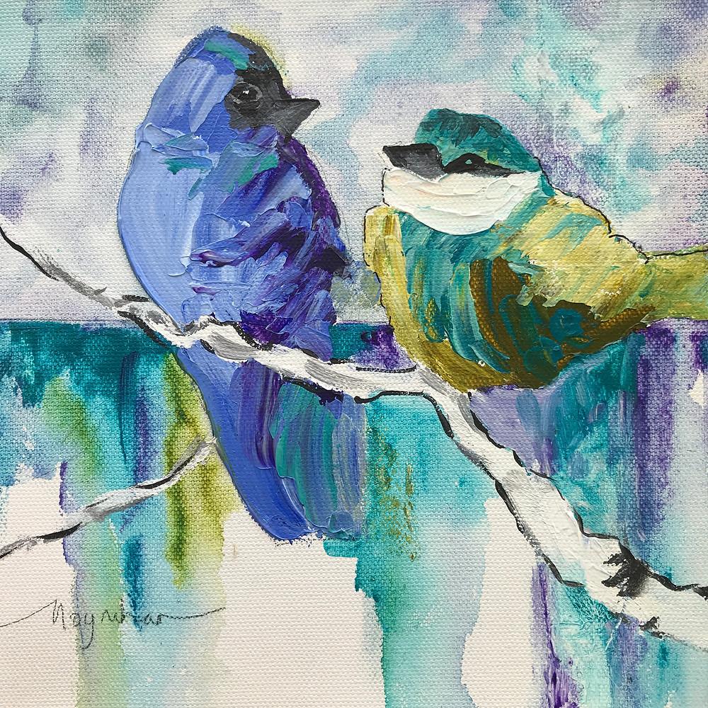 Contemporary original oil pair of blue birds by Kate Moynihan artist