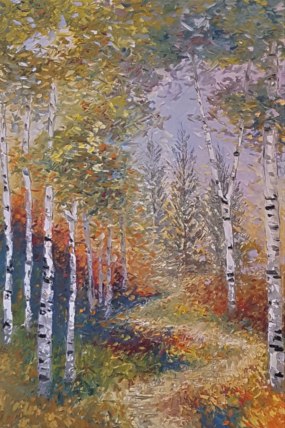 Vertical birch tree landscape with syn lit path. Giclee print by Kate Moynihan
